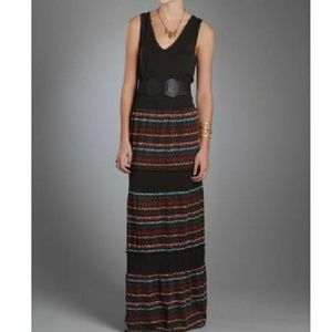 Free people Tiered Pom Trim Maxi Dress